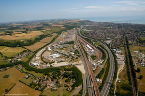 Channel Tunnel at Folkestone from the air