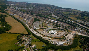 Channel Tunnel - Chunnel -  UK Terminal at Folkestone from the air