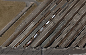 Eurotunnel Shuttle loading ramps from the air