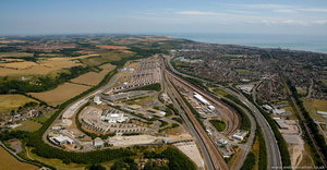 Eurotunnel  UK Terminal at Folkestone from the air