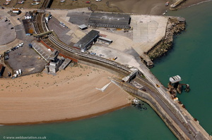 Folkestone Harbour railway station from the air