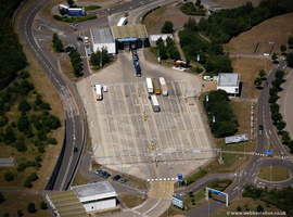 border controls at the Channel Tunnel   from the air
