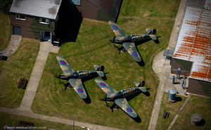 Hawker Hurricane Fighter aircraft at the Battle of Britain Museum in Hawkinge  Kent  England UK aerial photograph