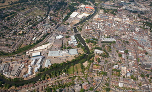 River Medway flowing through Maidstone  from the air