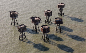 Red Sands Fort ,  Maunsell Sea Fort from the air