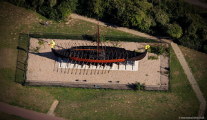 The Viking Ship Hugin  Pegwell Bay Kent  England UK aerial photograph