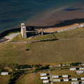 The Roman Saxon Shore Fort at Reculver Kent  England UK aerial photograph