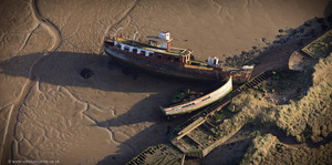 shipwrecks on the River Medway from the air