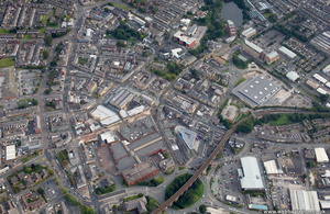 Accrington town centre from the air