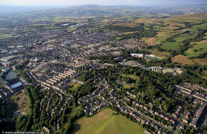 Oak Hill Park Accrington Lancashire from the air