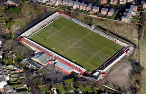 The Crown Ground  Accrington, Lancashire, England UK  aka  the Wham Stadium  home of Accrington Stanley.   aerial photograph