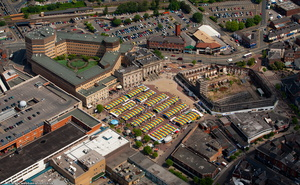 Ashton-under-Lyne market   from the air