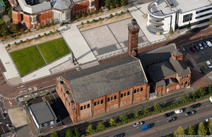 the old swimming baths, Ashton-under-Lyne from the air