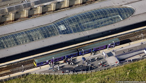 Northern Rail train at  Blackburn railway station from the air