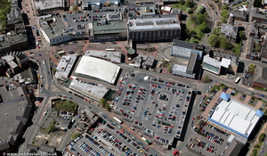 old Market Buildings and Multi story car park in Blackburn from the air
