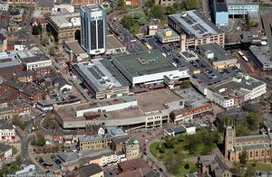 Blackburn Shopping centre from the air