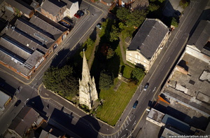 the spire of St. Peter's Church, Blackburn from the air