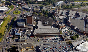 Thwaites brewery in Blackburn from the air