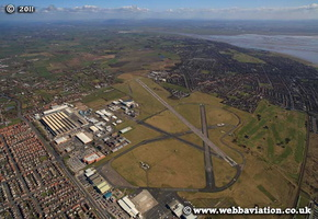 Blackpool Airport  Lancashire UK aerial photograph