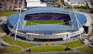 Macron Stadium (previously Reebok Stadium) Bolton Lancs home of English Bolton Wanderersaerial photograph
