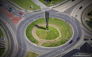 Spirit of Sport sculpture Bolton from the air