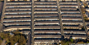 terraced houses in Burnley Lancashire aerial photograph