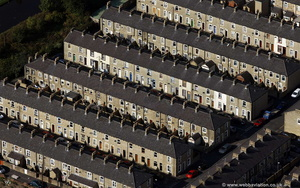 rows of terraces in Lancashire  aerial photograph