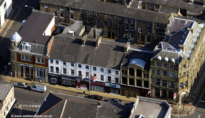 row of shops on Manchester Road Burnley aerial photograph