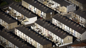 terraced houses in Lancashire aerial photograph