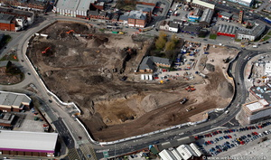 construction of The Rock Shopping Centre Bury Lancs from the air