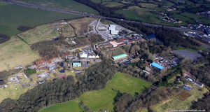 derelict and abandoned  Camelot Theme Park near Chorley from the air