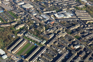 Colne town centre Lancashire from the air