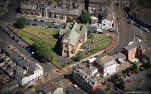 St Peter's Church, Fleetwood Lancashire from the air