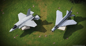 F-35 Lightning II and English Electric Lightning gate guardians at BAE Samlesbury  from the air