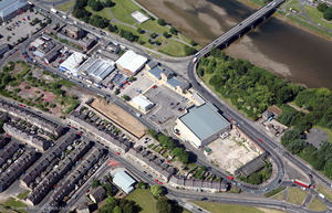 the Old Bus Depot Lancaster before it was rebuilt as apartments from the air