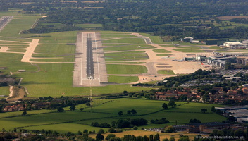 aircraft on final for runway 23 Right at Manchester Airport l from the air