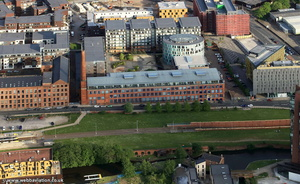 The Albion Works apartments, Ancoats, Manchester from the air