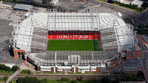 Old Trafford football stadium aerial photograph