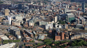 Manchester city centre from the west looking east  from the air