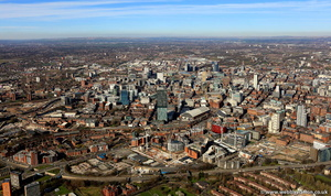Manchester skyline panorama from the air