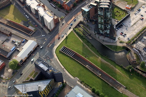 Metrolink underpass and bridge under Great Ancoats Street , Manchester, from the air