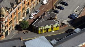 Pevril of the Peak pub Manchester from the air