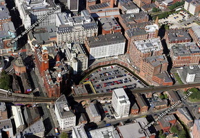 archive old aerial photograph of Manchester UK taken 2004 & 2005