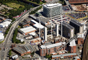 archive old aerial photograph of Manchester UK taken 2007