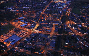 Ormskirk Lancashire at night from the air