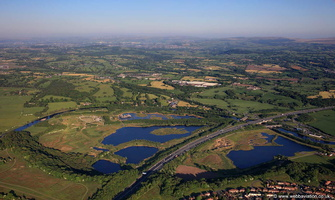 Brockholes wetland woodland nature reserve Preston from the air