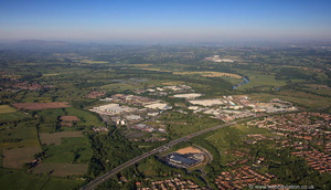 Millennium City Park &  junction 31a of the M6 Motorway at Preston  from the air