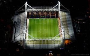 Preston North End Stadium  bPreston Lancashire at night aerial photograph