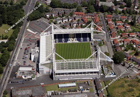 Deepdale football stadium Deepdale  Preston, England UK home of Preston North End F.C.aerial photograph