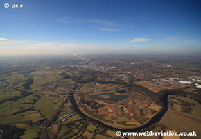 River Ribble Preston Lancashire at night aerial photograph
